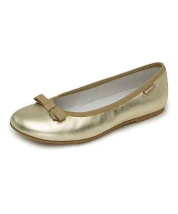 garvalin Gold Bow Leather Flat