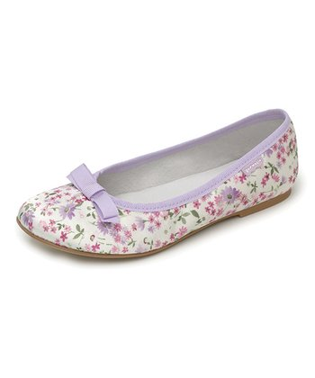 garvalin White & Lilac Floral Bow Leather Flat