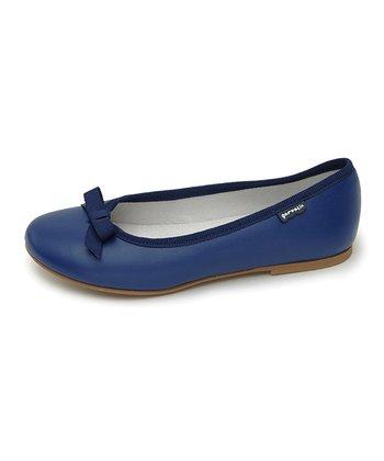 garvalin Marine Blue Bow Leather Flat