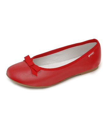 garvalin Red Rojo Bow Leather Flat