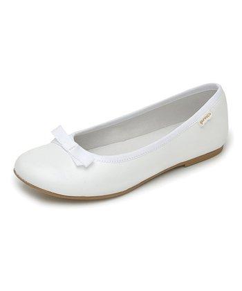 garvalin White Bow Leather Flat