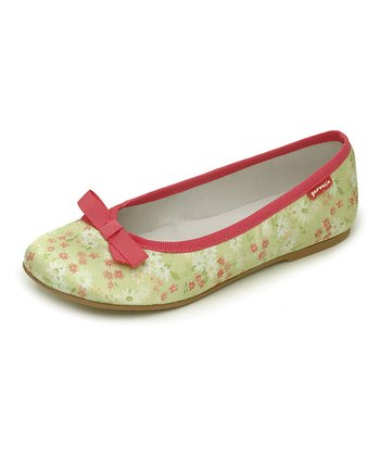 garvalin Green & Pink Floral Bow Leather Flat