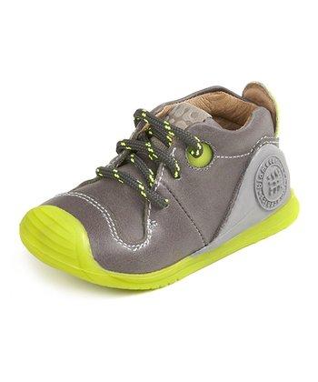 garvalin Dark Gray & Lime Leather Sneaker