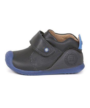 garvalin Black & Blue Strap Leather Sneaker