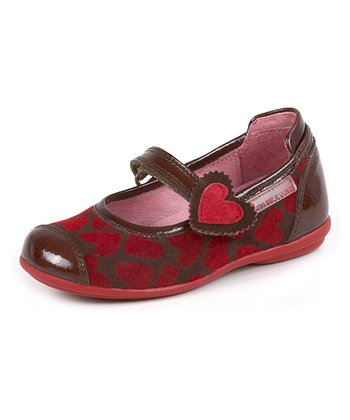 garvalin Brown & Red Heart Leather Mary Jane
