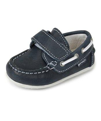 garvalin Marine Blue & White Strap Leather Boat Shoe