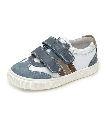 garvalin White & Blue Strap Leather Sneaker