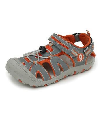 garvalin Gray & Orange Leather Closed-Toe Sandal