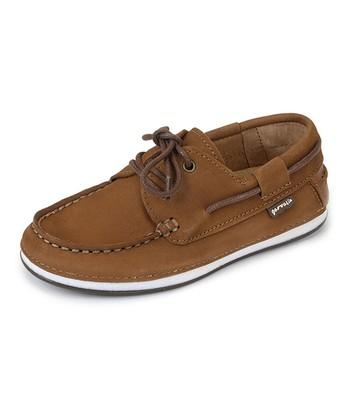 garvalin Brown Leather Boat Shoe
