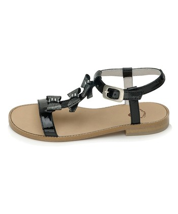 garvalin Black Bow Leather Sandal