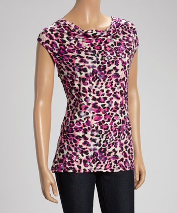 Purple & Black Leopard Sleeveless Top