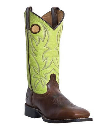 Tan & Green Rodeo Leather Cowboy Boot - Women
