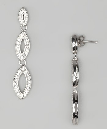 Cubic Zirconia & Sterling Silver Marquise Drop Earrings