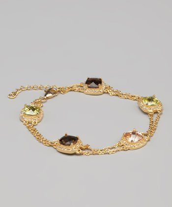 Green Cubic Zirconia & Gold Fancy Bracelet