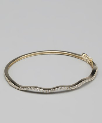 Cubic Zirconia & Gold Wave Bangle