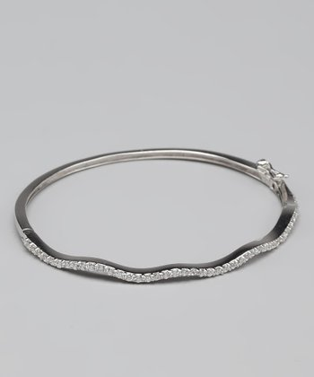 Cubic Zirconia & Sterling Silver Wave Bangle