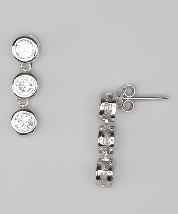 Cubic Zirconia & Sterling Silver Trio Drop Earrings