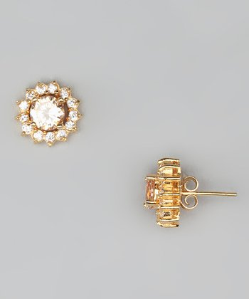 Champagne & Gold Stud Earrings