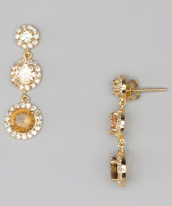 Brown Cubic Zirconia & Gold Three-Circle Drop Earrings