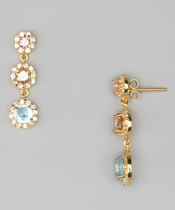 Blue Cubic Zirconia & Gold Three-Circle Drop Earrings