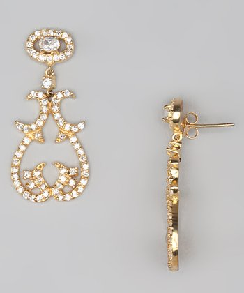 Cubic Zirconia & Gold Baroque Drop Earrings