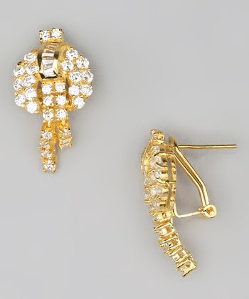 Cubic Zirconia & Gold Stud Earrings