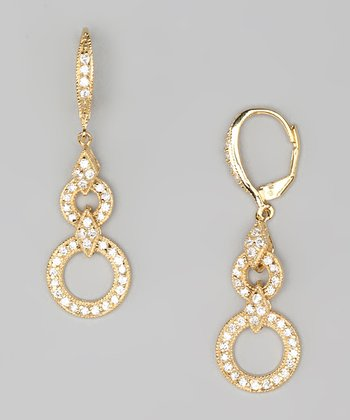 Cubic Zirconia & Gold Link Drop Earrings