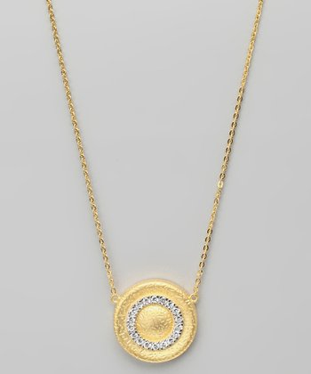 Cubic Zirconia & Gold Circular Pendant Necklace