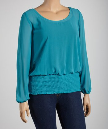 Teal Sheer Scoop Neck Top - Plus