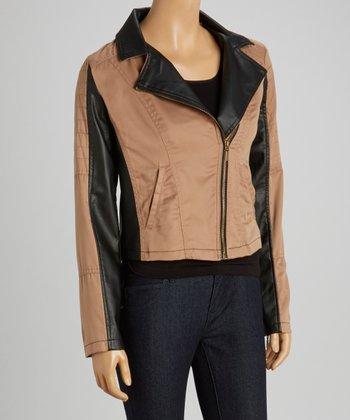 Camel Black Twill Jacket - Women