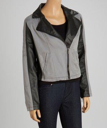 Grey & Black Twill Jacket - Women