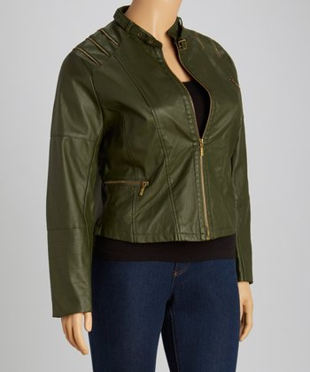 Olive Zipper Jacket - Women