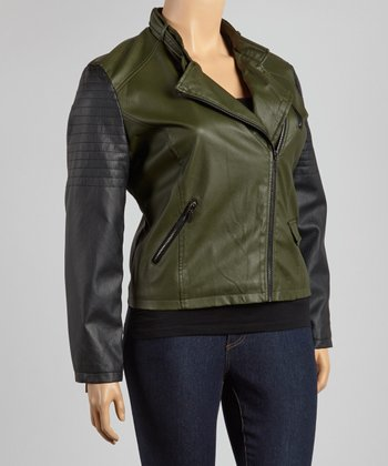 Olive & Black Two-Tone Jacket