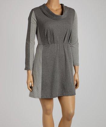 Reborn Collection Gray Color Block Drape Dress - Plus