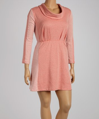 Reborn Collection Pink Color Block Drape Dress - Plus