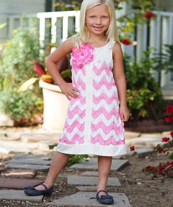 Freckles + Kitty Pink Zigzag Flower Dress - Toddler & Girls