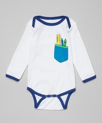 Ba Ba Bling Baby Blue Boys Rule Pocket Bodysuit - Infant