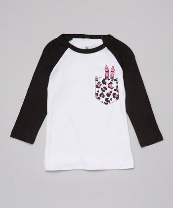 Ba Ba Bling Baby White Leopard Crayon Pocket Raglan Tee - Infant & Toddler