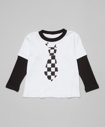 Ba Ba Bling Baby Black Checkerboard Tie Raglan Tee - Infant
