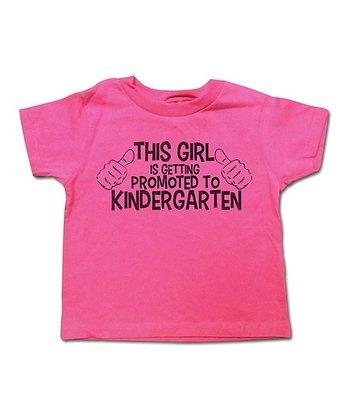 Hot Pink 'Promoted To Kindergarten' Tee - Toddler & Girls