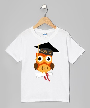 Orange Owl Diploma Graduation Personalized Tee - Girls