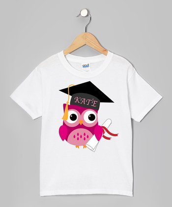 Pink Owl Diploma Graduation Personalized Tee - Girls