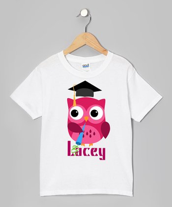 Pink Owl Graduation Party Personalized Tee - Girls