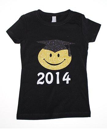 Black '2014' Smiley Face Graduation Tee - Toddler & Girls