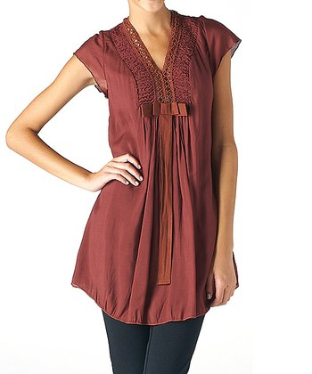 Rust Brown Crocheted V-Neck Tunic