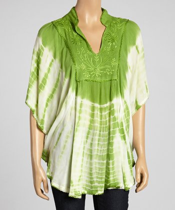 Green Tie-Dye Cape-Sleeve Tunic