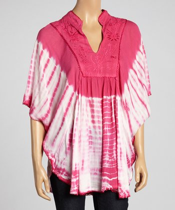 Pink Tie-Dye Cape-Sleeve Tunic
