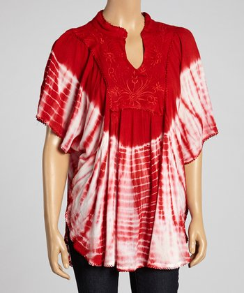 Red Tie-Dye Cape-Sleeve Tunic