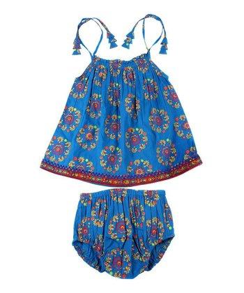 Child of the World Blue Natasha Dress & Bloomers - Infant & Toddler