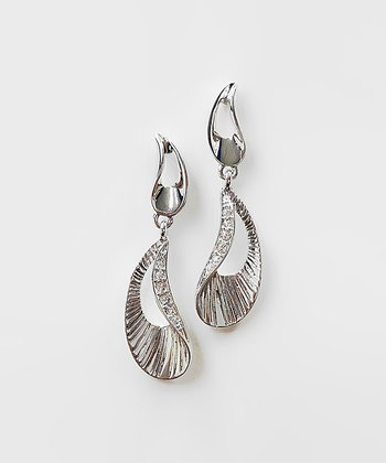 Silver & Crystal Curve Drop Earrings